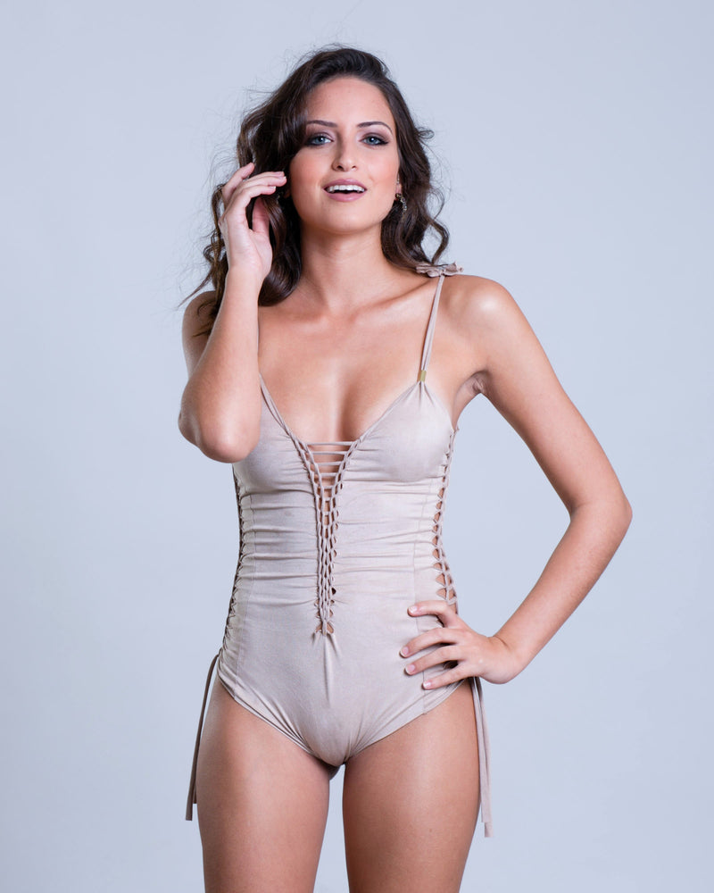 "Suede Look Cream One Piece Swimsuit For Women ""SIDE"" - One Piece - [By Goa Magic Fashion]"