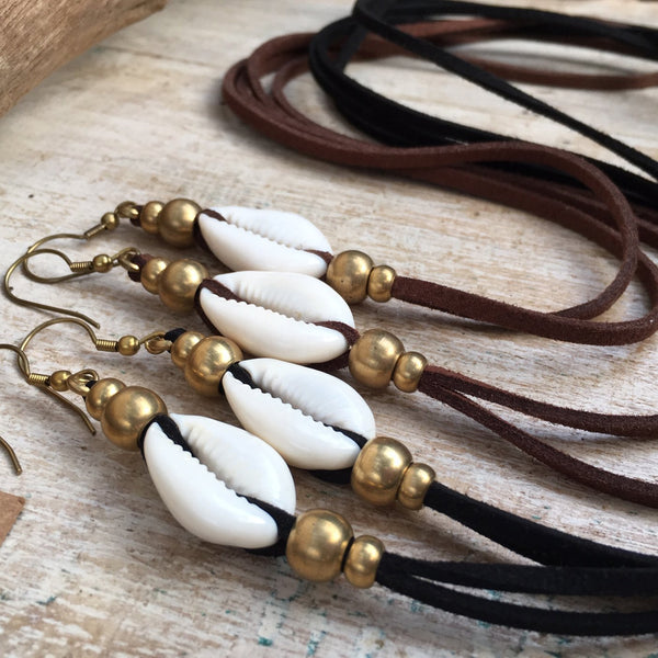 Cowrie Shell Earrings, Body Jewelry BY Artjuna Jewelry - goa-magic-fashion