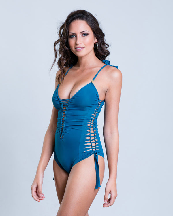 "Blue-Turquoise One Piece Swimsuit For Women ""SIDE"" (Lycra Fabric) - One Piece - [By Goa Magic Fashion]"