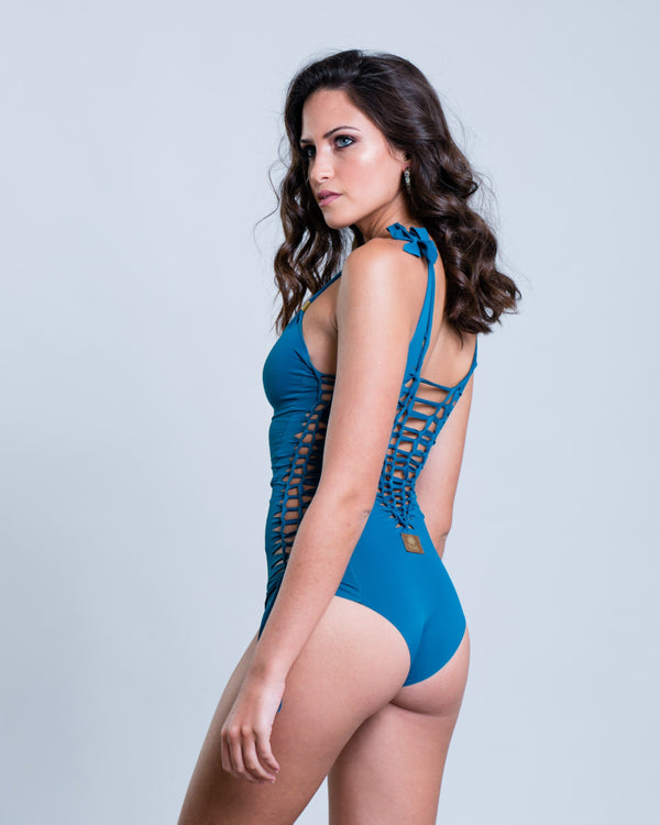 "Blue-Turquoise One Piece Swimsuit For Women ""SIDE"" - One Piece - [By Goa Magic Fashion]"