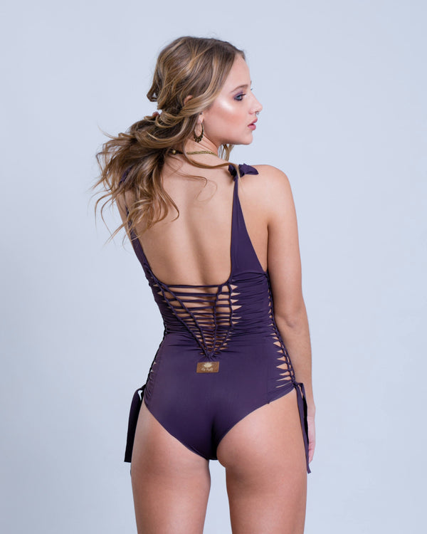 "Dark Purple One Piece Swimsuit For Women ""SIDE"" (Lycra Fabric) - One Piece - [By Goa Magic Fashion]"