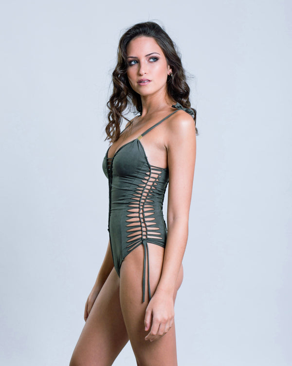 "Suede Look Olive Green One Piece Swimsuit For Women ""SIDE"" - goa-magic-fashion"