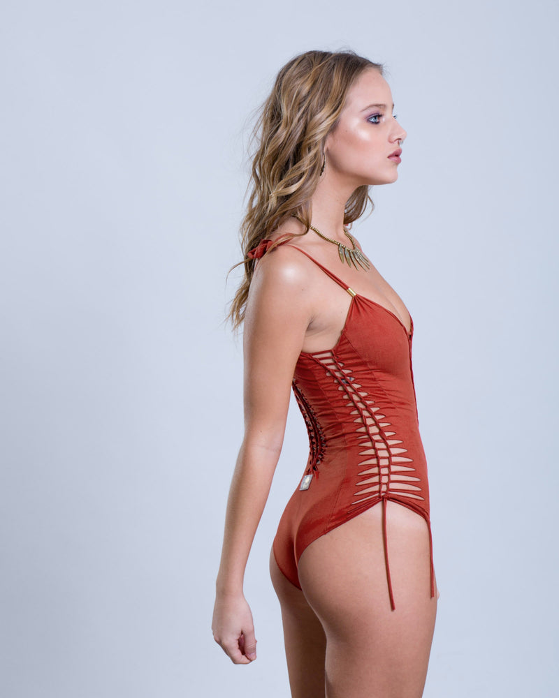 "Suede Look Orange Coral One Piece Swimsuit For Women ""SIDE"" - One Piece - [By Goa Magic Fashion]"
