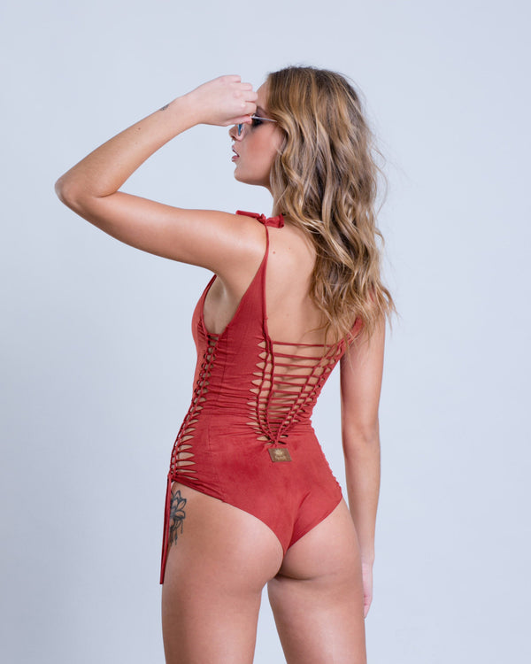 "Suede Look Orange Coral One Piece Swimsuit For Women ""SIDE"" - goa-magic-fashion"