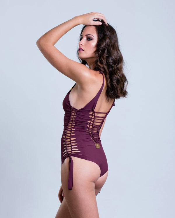 "Bordeaux One Piece Swimsuit For Women ""SIDE"" (Lycra Fabric) - One Piece - [By Goa Magic Fashion]"