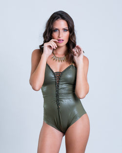 "Olive Green Fake Leather One Piece Swimsuit For Women ""CLASSIC"" (Lycra Fabric) - goa-magic-fashion"