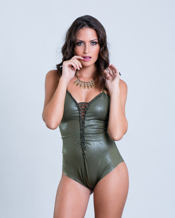 "Olive Green Fake Leather One Piece Swimsuit For Women ""CLASSIC"" (Lycra Fabric) - One Piece - [By Goa Magic Fashion]"