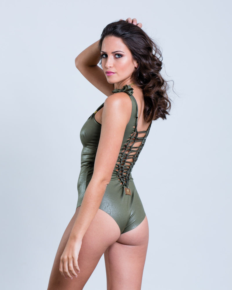 "Olive Green One Piece Swimsuit For Women ""CLASSIC"" - One Piece - [By Goa Magic Fashion]"