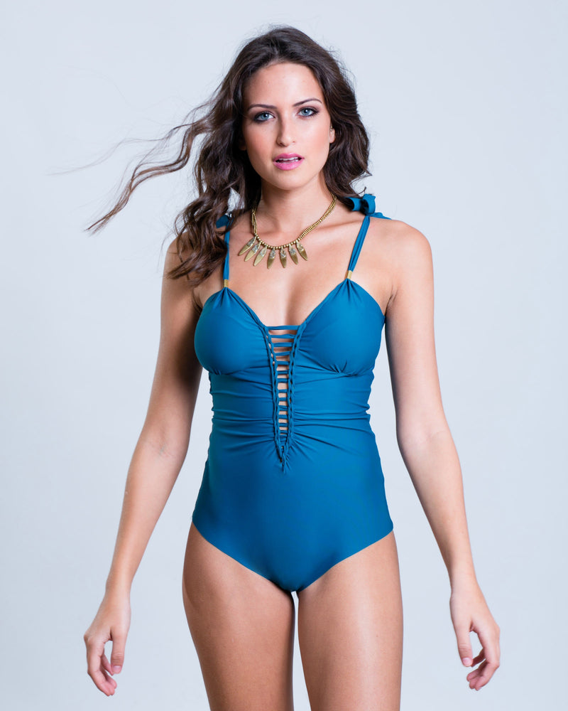 "Blue Turquoise One Piece Swimsuit For Women ""CUT"" (Lycra Fabric) - One Piece - [By Goa Magic Fashion]"