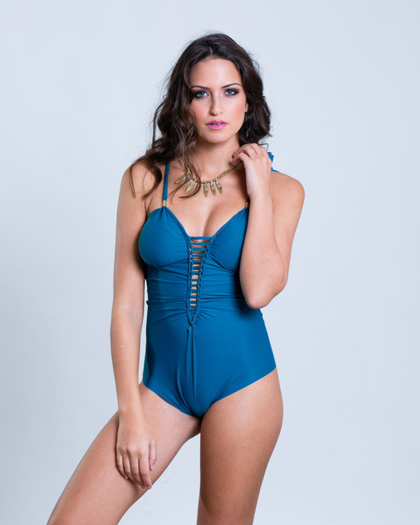 "Blue Turquoise One Piece Swimsuit For Women ""CUT"" (Lycra Fabric) - goa-magic-fashion"