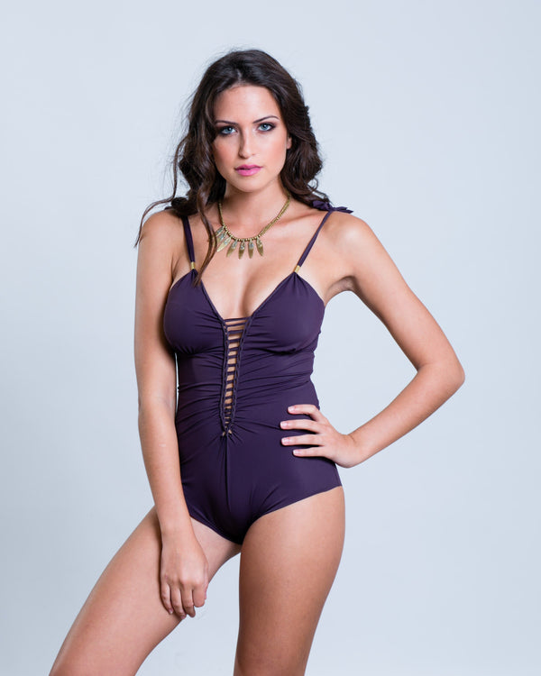"Purple One Piece Swimsuit For Women ""CUT"" (Lycra Fabric) - goa-magic-fashion"