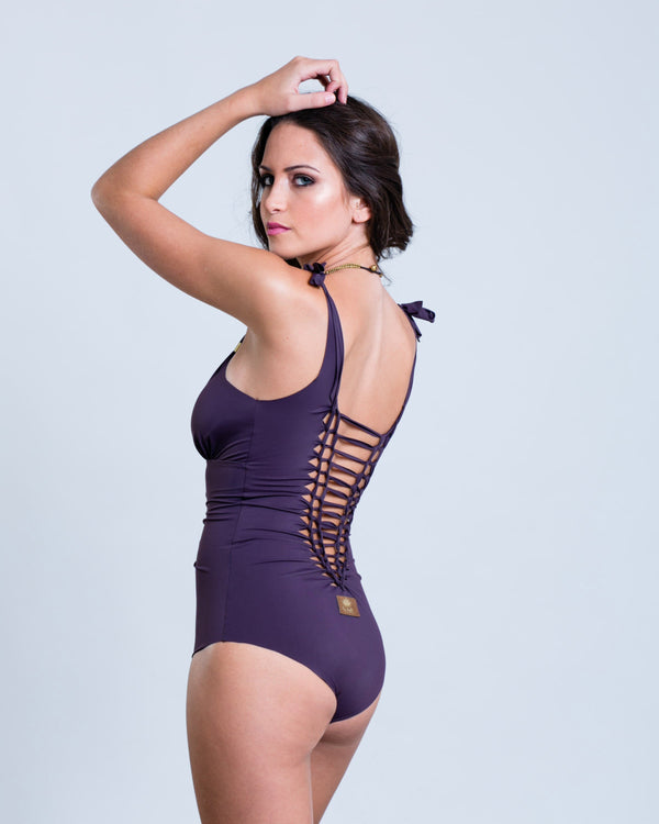"Purple One Piece Swimsuit For Women ""CUT"" (Lycra Fabric) - One Piece - [By Goa Magic Fashion]"