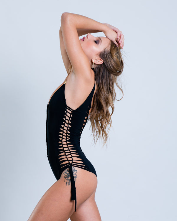 "Black One Piece Swimsuit For Women ""SIDE"" (Lycra Fabric) - goa-magic-fashion"