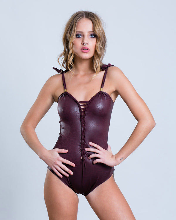 "Bordeaux One Piece Swimsuit For Women ""CLASSIC"" - One Piece - [By Goa Magic Fashion]"