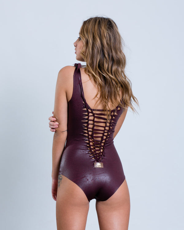 "Bordeaux Fake Leather One Piece Swimsuit For Women ""CLASSIC"" (Lycra Fabric) - One Piece - [By Goa Magic Fashion]"