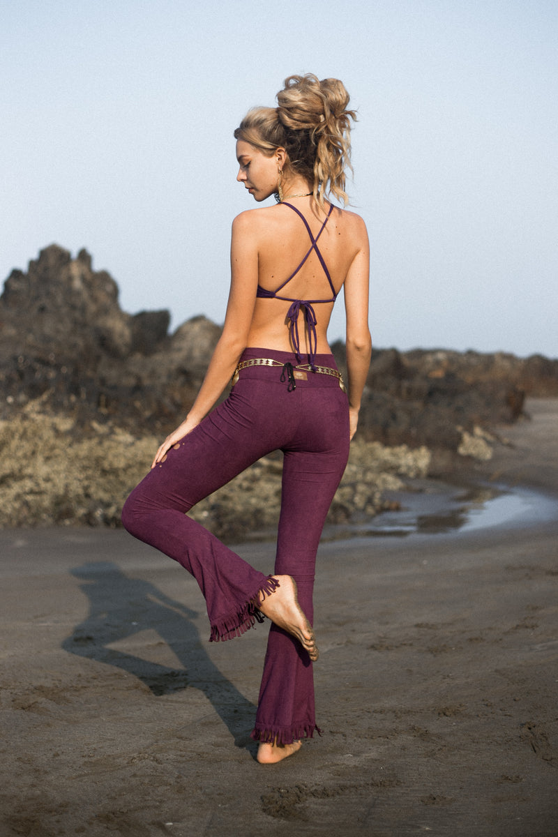 Flair Fringe Pants For Women In Suede Purple with Floral Cutouts - goa-magic-fashion