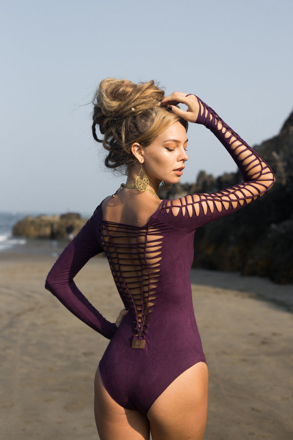 SUEDE Look Long Sleeve Purple Leotard For Women, Dance Bodysuit - goa-magic-fashion
