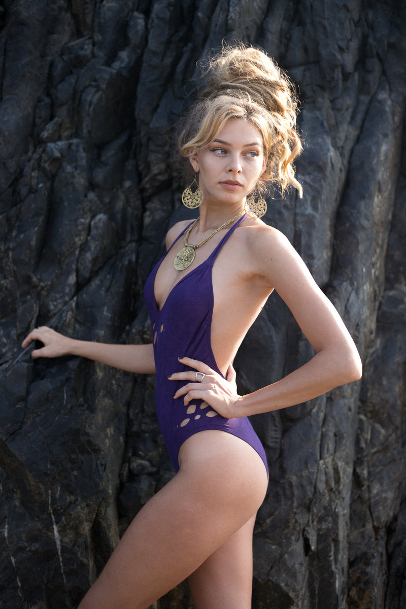Shabby Purple Cut Out Flowers One Piece Swimsuit For Women (Lycra Fabric) - goa-magic-fashion
