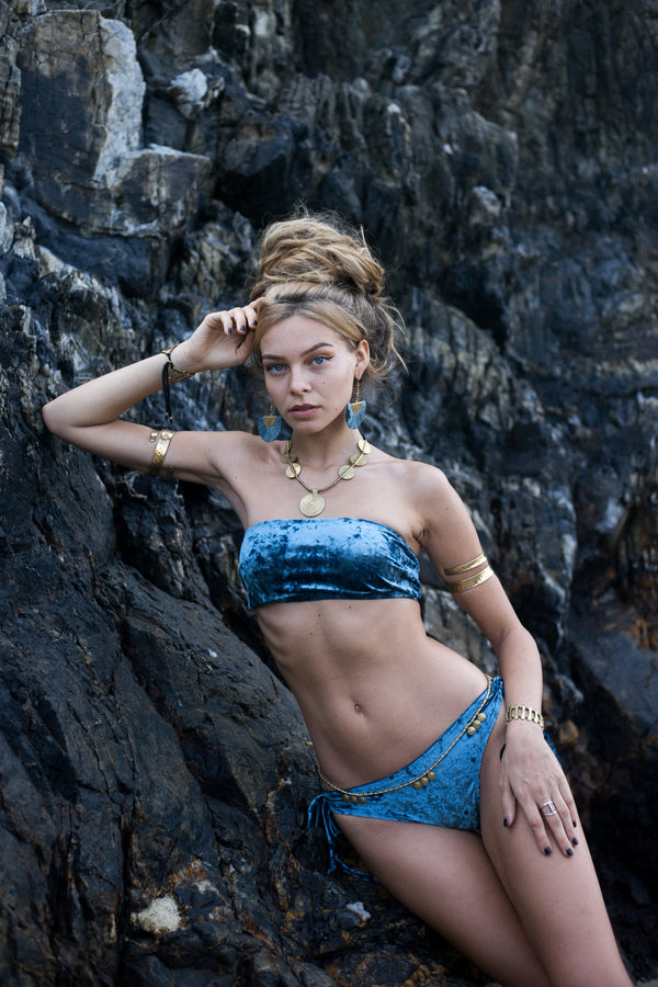 Strapless Bikini Set For Women In Turquoise Velvet Fabric