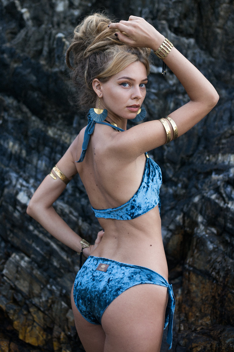 Blue VELVET Bikini Set For Women - goa-magic-fashion