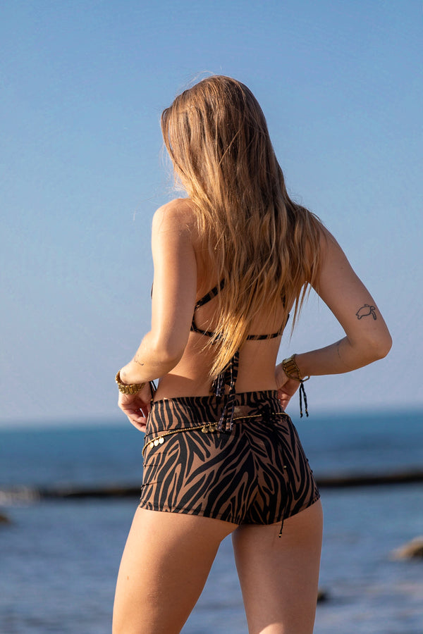 "Booty Shorts ""GAL"" In Brown & Black print"
