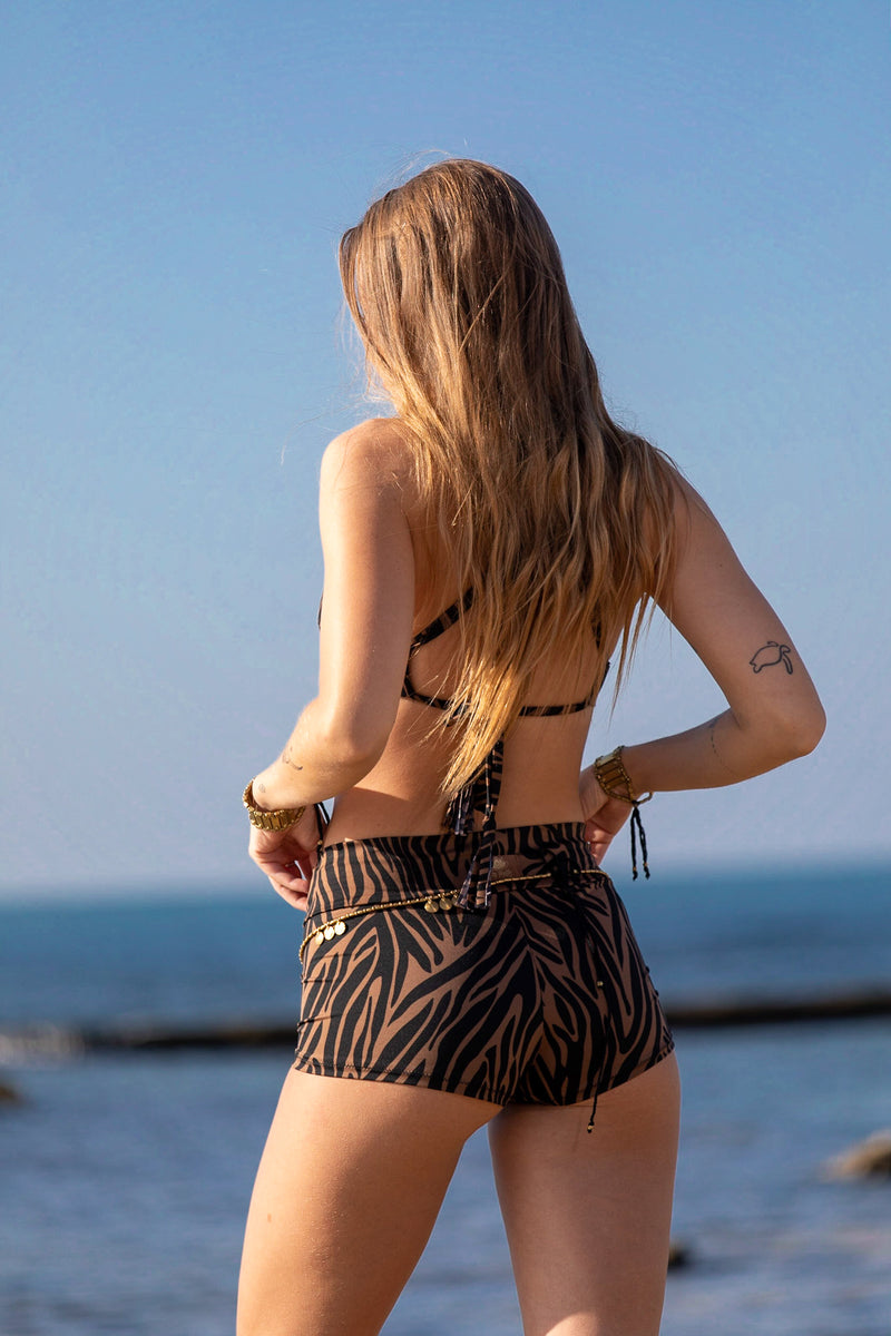 "Cheeky High Waist Bikini For Women ""GAL"" In Brown & Black Print"