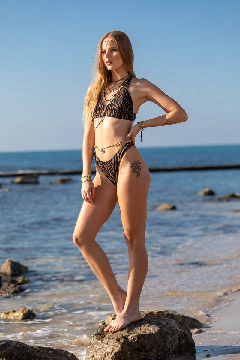 "3 Pieces Bikini set For Women ""GAL"" in Brown & Black print"