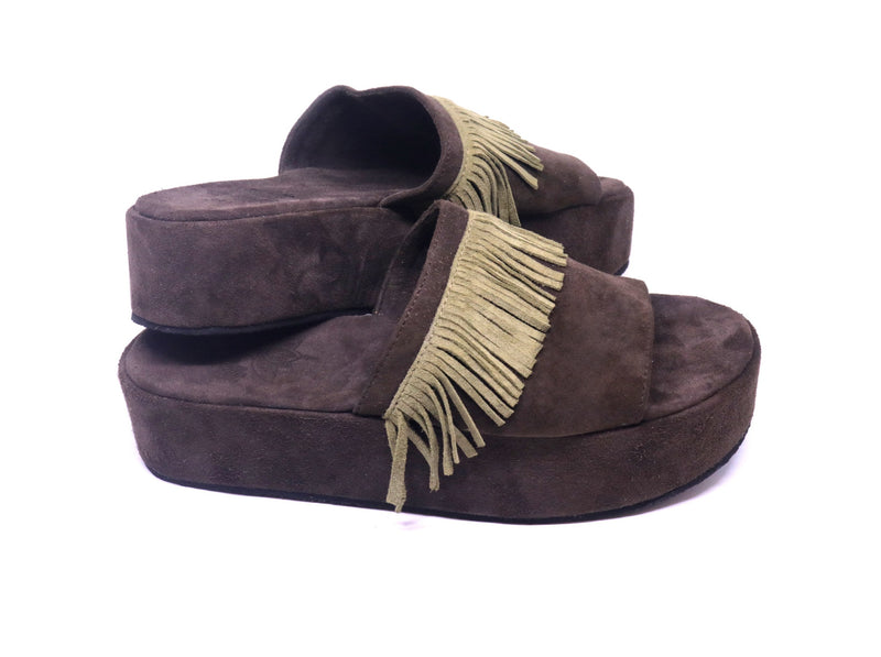 Platform Fringe Sandals in Suede Dark Brown
