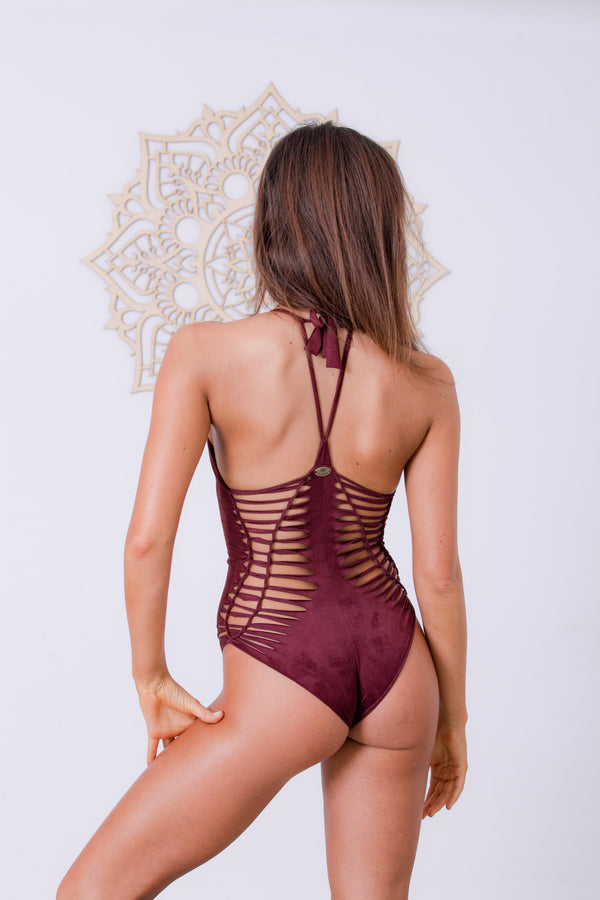 "Suede Look Bordeaux One Piece Swimsuit For Women ""DORIN"" - goa-magic-fashion"