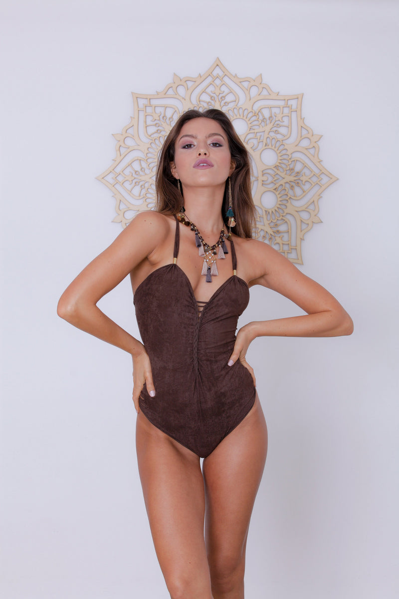 "Suede Look Brown One Piece Swimsuit For Women ""DORIN"" (Lycra Fabric) - One Piece - [By Goa Magic Fashion]"