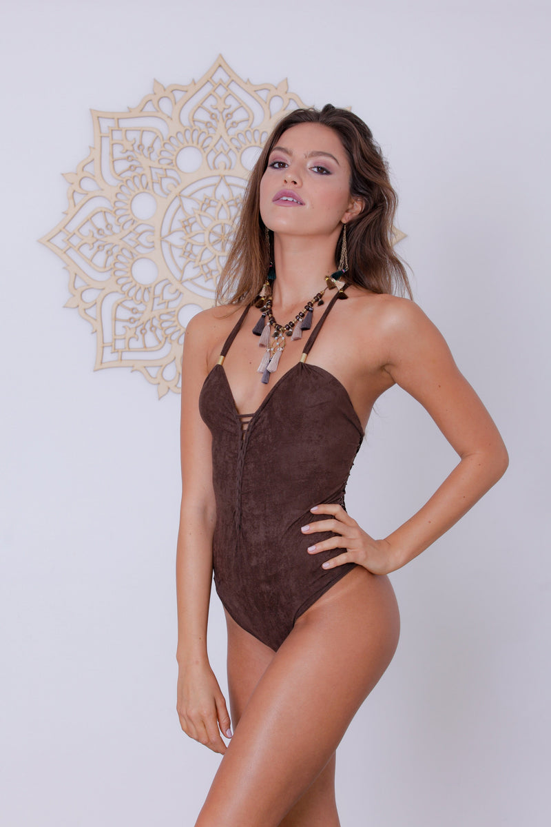 "Suede Look Brown One Piece Swimsuit For Women ""DORIN"" (Lycra Fabric) - goa-magic-fashion"