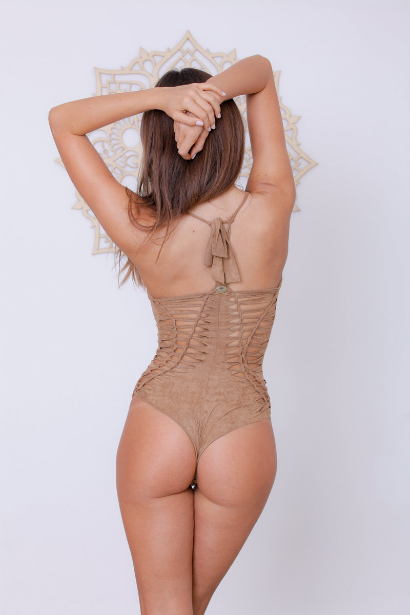 "Suede Look Beige One Piece Swimsuit For Women ""DORIN"" - goa-magic-fashion"