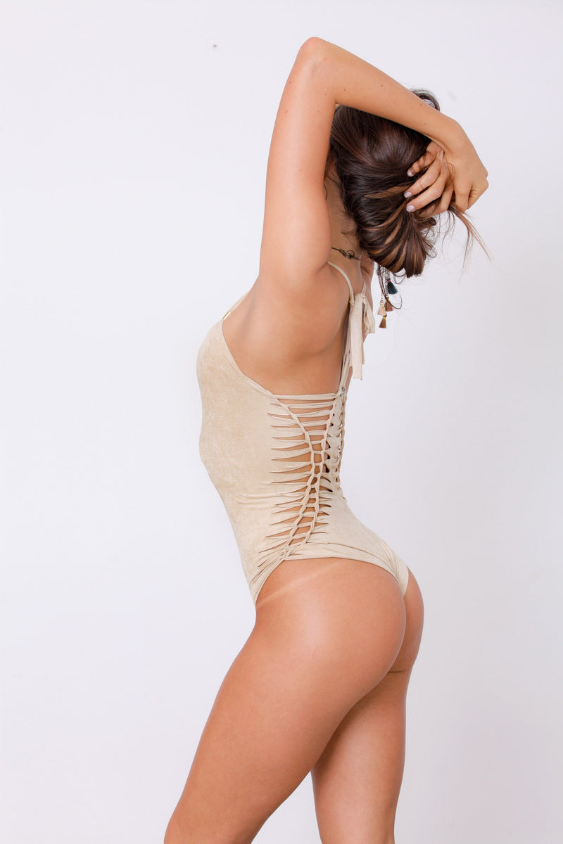 "Suede Look Nude (Cream Color) One Piece Swimsuit For Women ""DORIN"" - goa-magic-fashion"