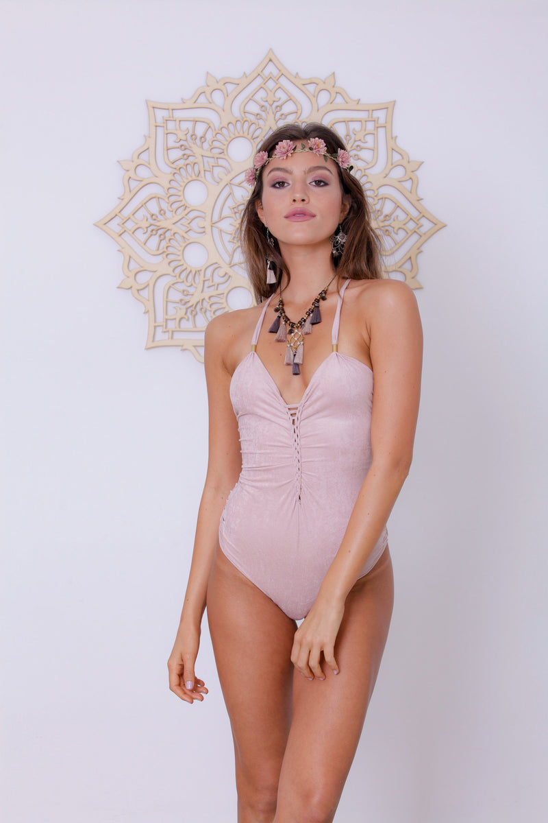 "Suede Look Antique Pink One Piece Swimsuit For Women ""DORIN"" - goa-magic-fashion"