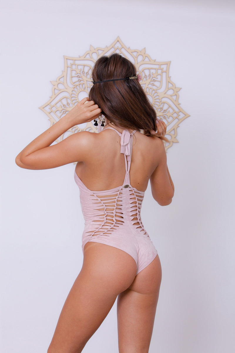 "Suede Look Antique Pink One Piece Swimsuit For Women ""DORIN"" - One Piece - [By Goa Magic Fashion]"