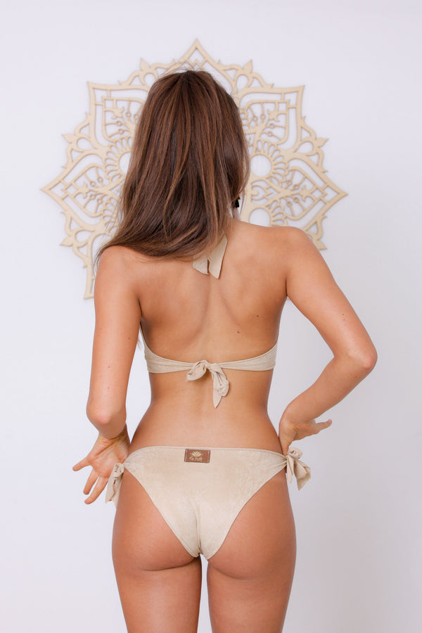 "Suede Look Light Beige Bikini Set For Women ""BEADS"" - goa-magic-fashion"