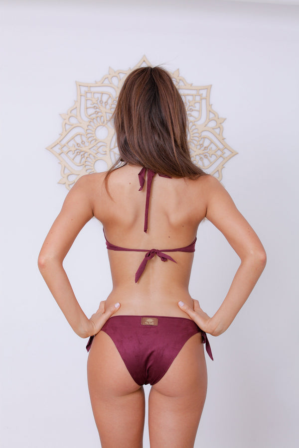 "Suede Look Bordeaux Bikini Set For Women ""BEADS"" - goa-magic-fashion"