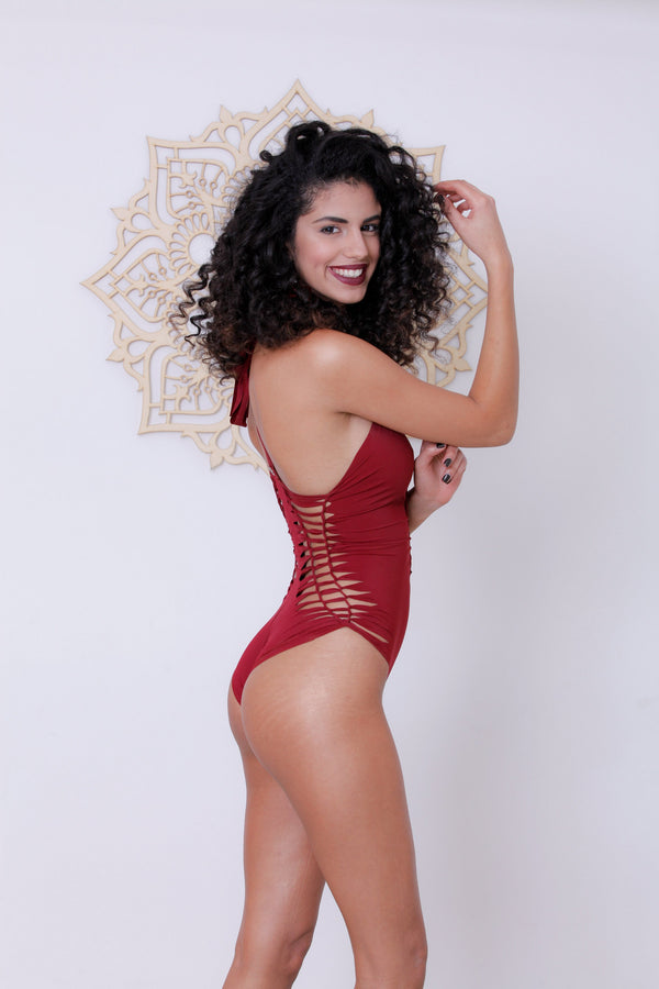 "Red One Piece Swimsuit For Women ""DORIN"" (Lycra Fabric) - goa-magic-fashion"