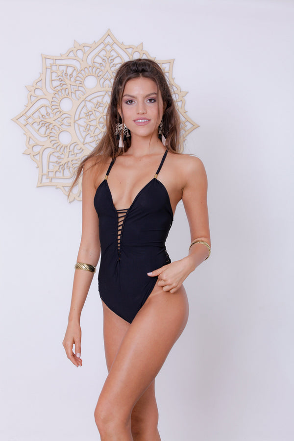 "Black One Piece Swimsuit For Women ""DORIN"" (Lycra Fabric) - One Piece - [By Goa Magic Fashion]"