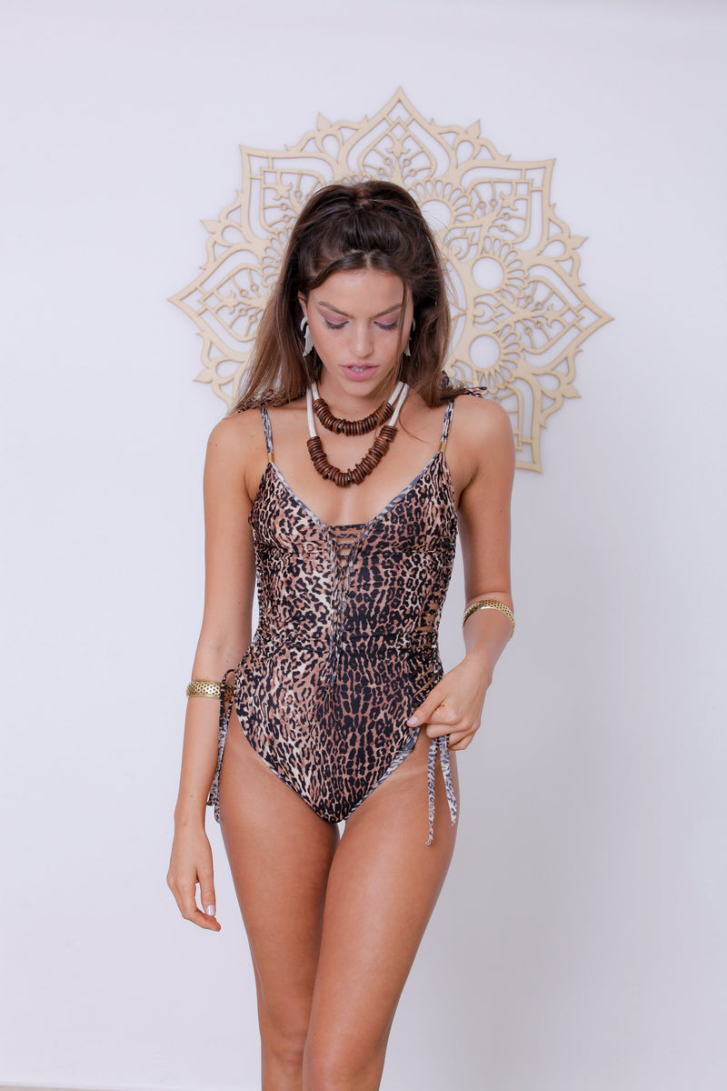 "Leopard Print One Piece Swimsuit For Women ""SIDE"" (Lycra Fabric) - One Piece - [By Goa Magic Fashion]"