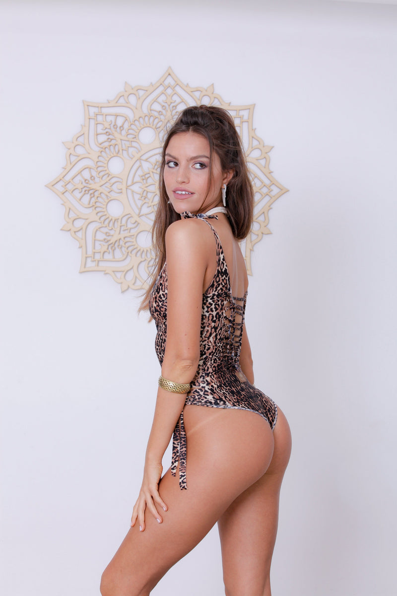 "Leopard Print One Piece Swimsuit For Women ""SIDE"" (Lycra Fabric) - goa-magic-fashion"