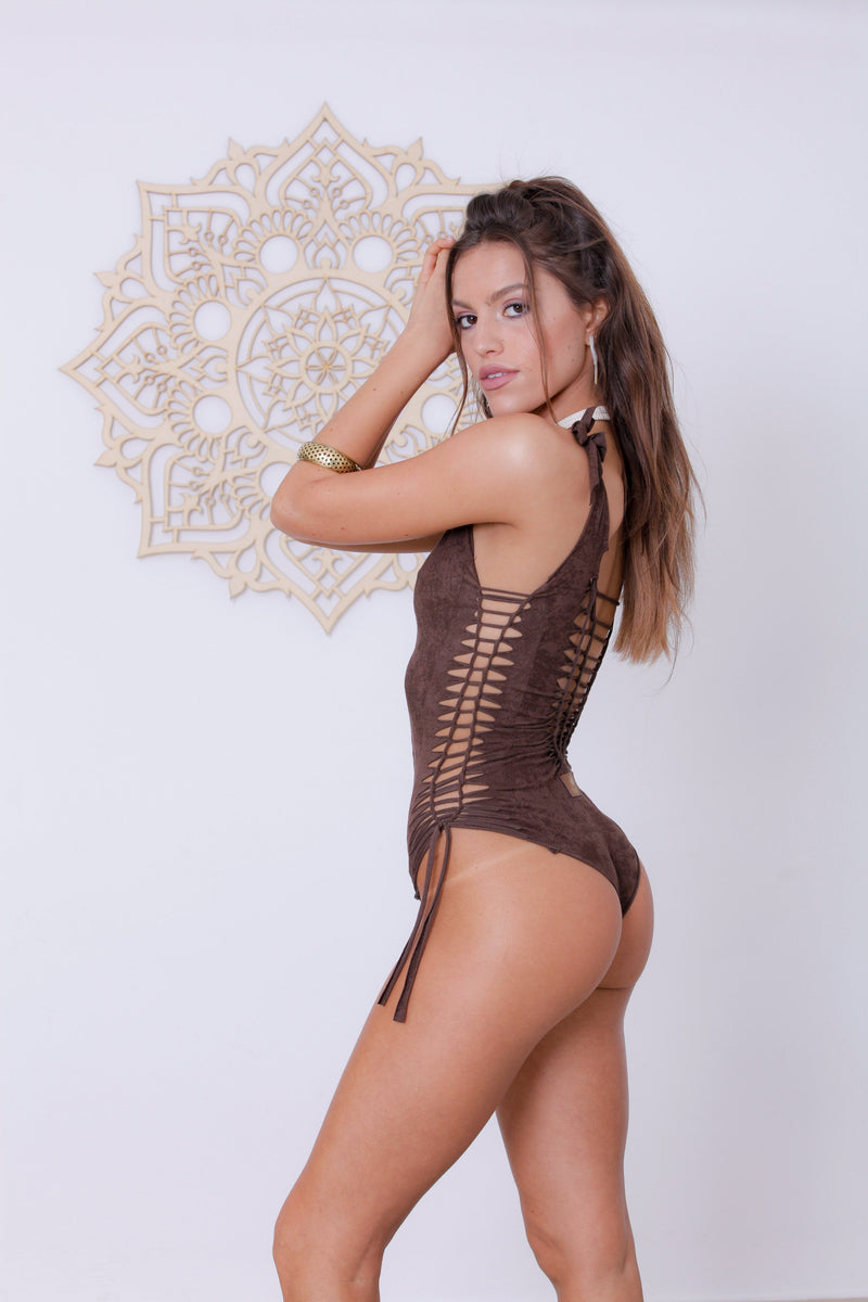 "Suede Look Dark Brown One Piece Swimsuit For Women ""SIDE"" - goa-magic-fashion"
