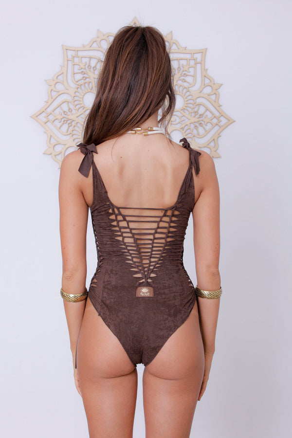 "Dark Brown One Piece Swimsuit For Women ""SIDE"" - One Piece - [By Goa Magic Fashion]"