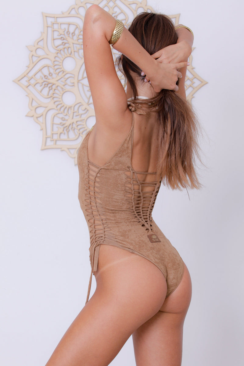 "Suede Look Beige One Piece Swimsuit For Women ""SIDE"" - goa-magic-fashion"