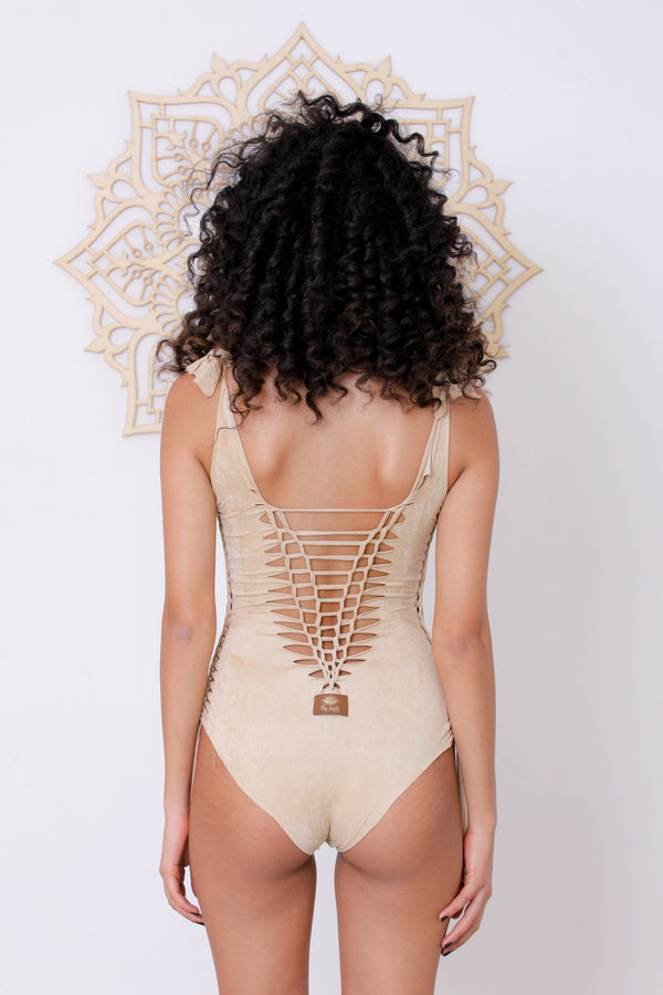"Suede Look Light Beige One Piece Swimsuit For Women ""DELI"" - goa-magic-fashion"