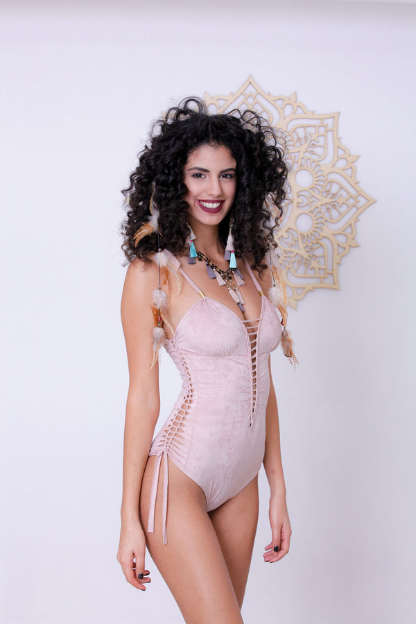 "Antique Pink One Piece Swimsuit For Women ""DELI"" - One Piece - [By Goa Magic Fashion]"