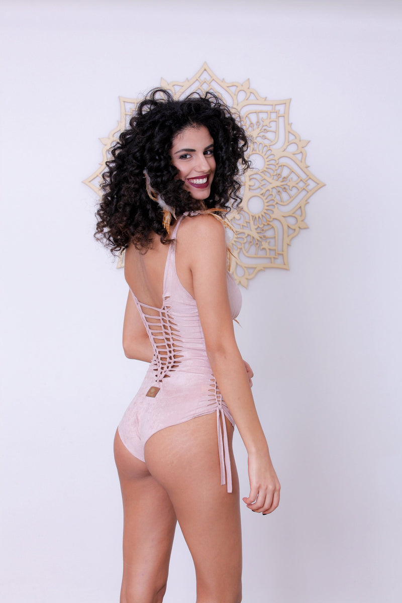 "Suede Look Antique Pink One Piece Swimsuit For Women ""DELI"" - goa-magic-fashion"