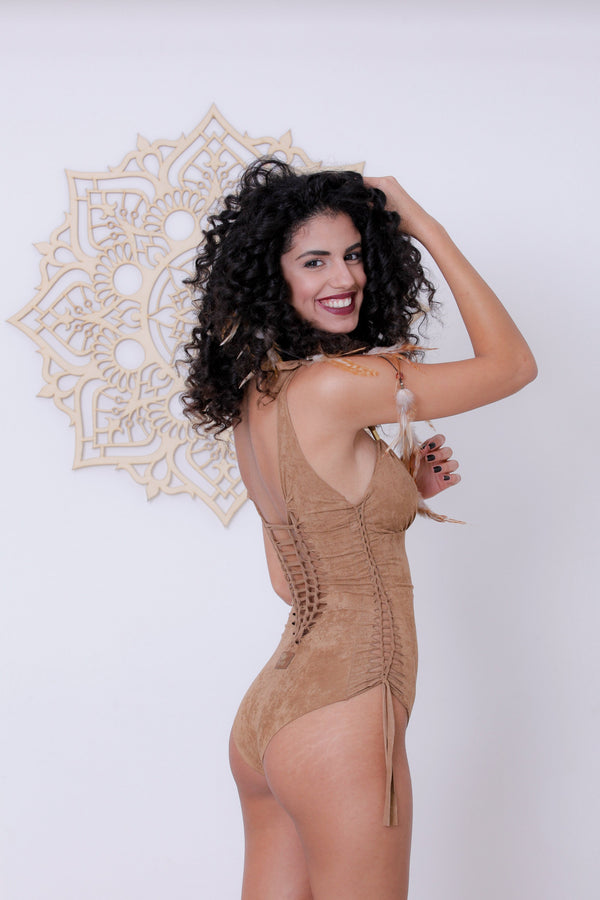 "Suede Look Beige One Piece Swimsuit For Women ""DELI"" - goa-magic-fashion"