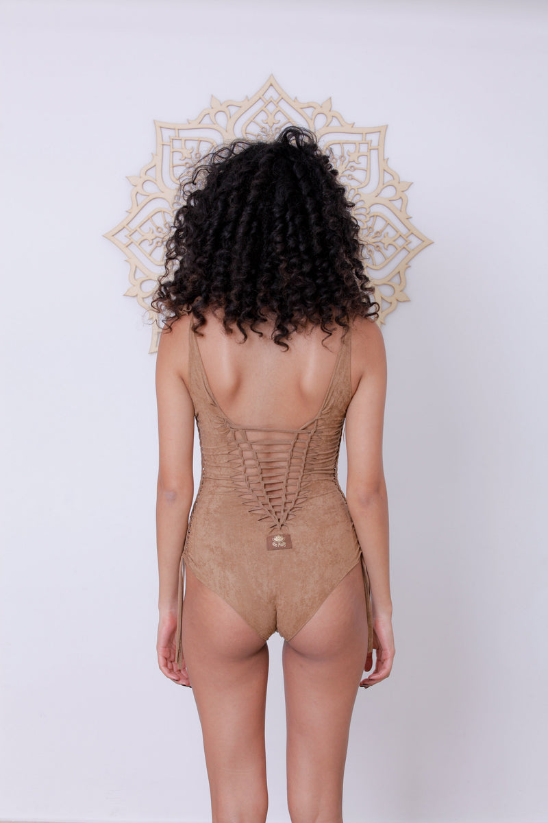 "Suede Look Beige One Piece Swimsuit For Women ""DELI"" - One Piece - [By Goa Magic Fashion]"