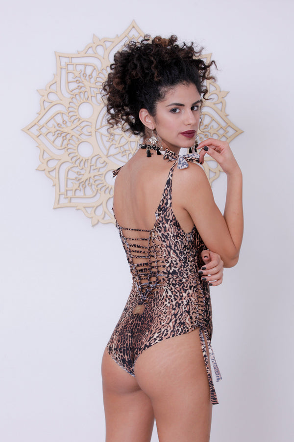 "Leopard Print One Piece Swimsuit For Women ""DELI"" (Lycra Fabric) - One Piece - [By Goa Magic Fashion]"